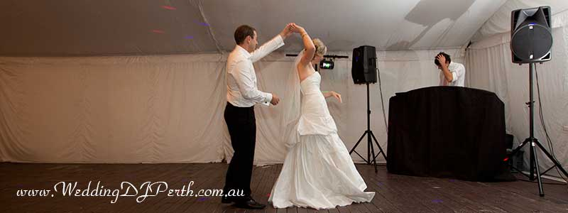 bridal dance, DJ in background